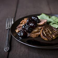Duck Breast with Foie Gras and Balsamic Cherries