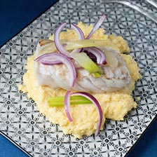 Sauted Sea Bass Over Polenta Recipe