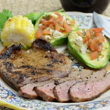 Grilled Iberico Skirt Steaks With Pico De Gallo and Grilled Avocados Recipe