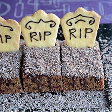 Graveyard Chocolate Cake With Tombstone Cookies Recipe