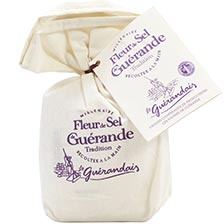 Fleur de Sel Sea Salt from Guerande in a Linen Bag
