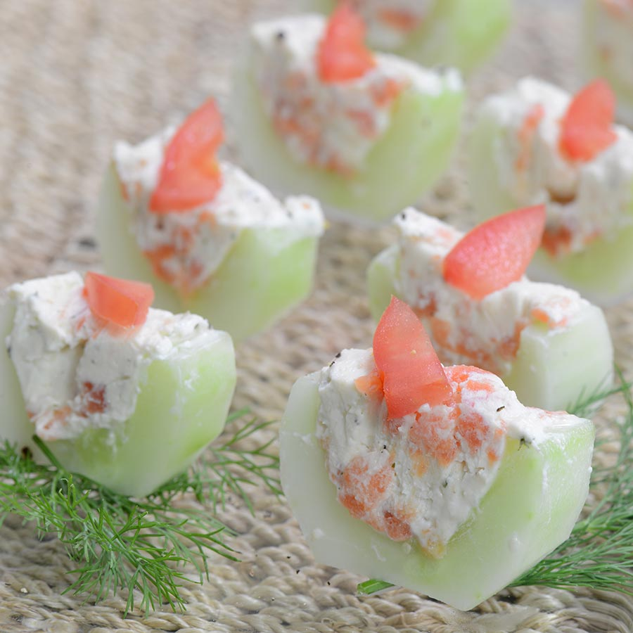 Cucumber and smoked salmon appetizer canapes recipe for Simple canape appetizer