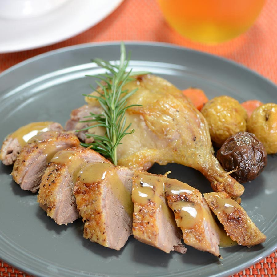 Roast duck with new potatoes and peppercorn sauce recipe gourmet food store - Modern french cuisine recipes ...