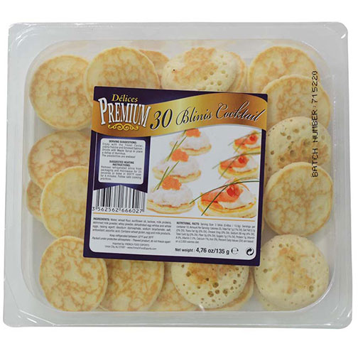 Buy delicious cocktail blinis from France by Delices Premium - 30 count