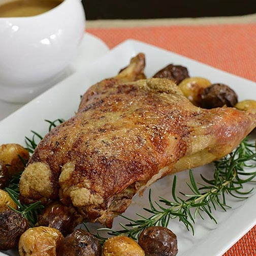French cuisine at home roast duck with new potatoes for Gourmet meals to make at home