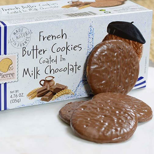 French Butter Cookies Coated in Milk Chocolate
