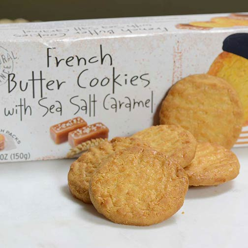 French Butter Cookies with Sea Salt and Caramel