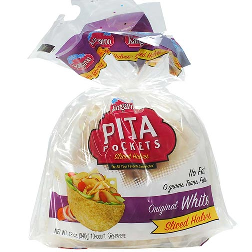 Pita Pockets Sliced Halves - Original, White