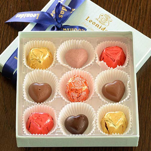 Leonidas 9 Piece Chocolates Assortment, Square Box