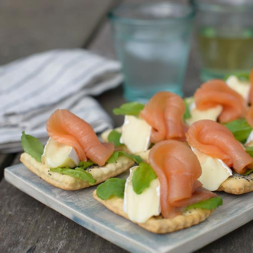 Smoked Salmon Over Poppyseed Crackers Recipe