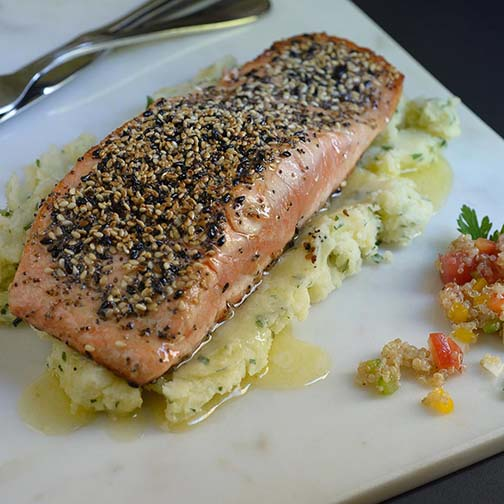 Seed-Crusted Salmon With Parsley Mash and Quinoa Salad Recipe
