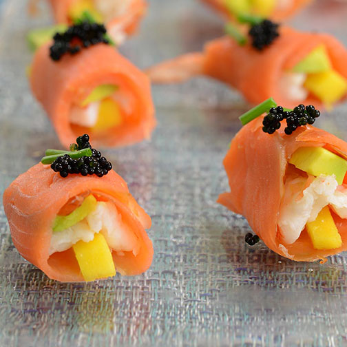 Shrimp and Smoked Salmon Appetizers With Avocado Recipe