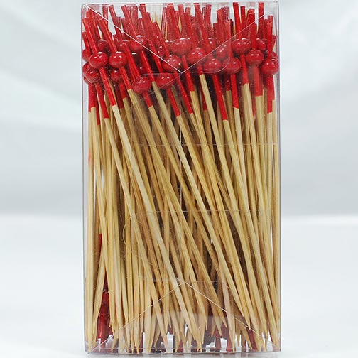 Red Mini Ball Bamboo Skewers - 4.7 Inch