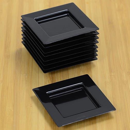 Square Black Plate & Square Black Plate | Dishware Set | Dinner Plates