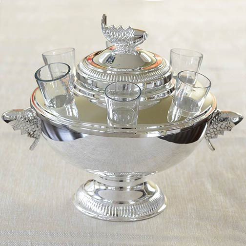 Sterling Silver Plated Caviar Server with 6 Vodka Glasses | Gourmet Food Store