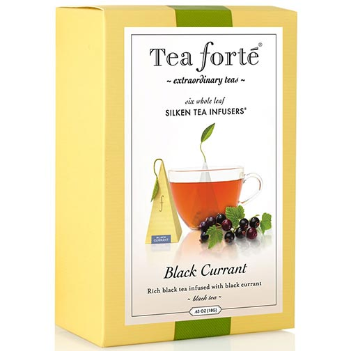 Tea Forte Black Currant Black Tea - Pyramid Box, 6 Infusers
