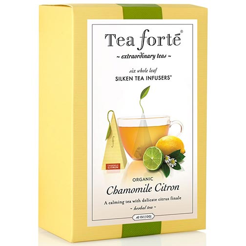 Tea Forte Chamomile Citron Herbal Tea - Pyramid Box, 6 Infusers
