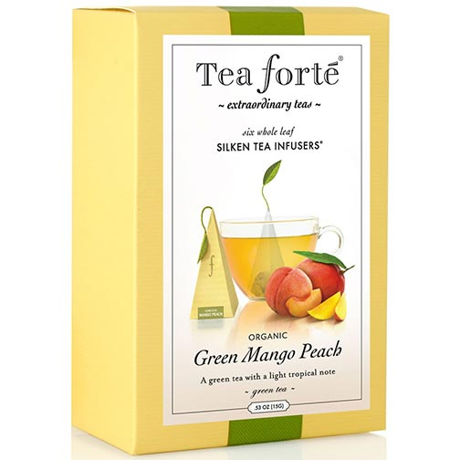 Tea Forte Green Mango Peach Green Tea - Pyramid Box, 6 Infusers