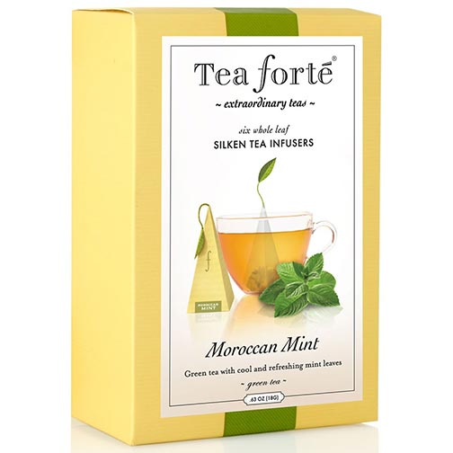 Tea Forte Moroccan Mint Green Tea - Pyramid Box, 6 Infusers