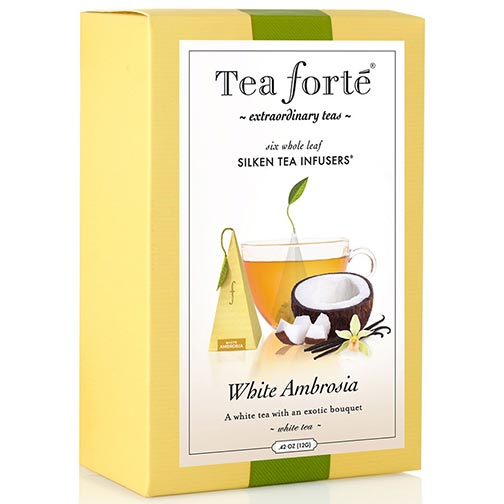 Tea Forte White Ambrosia White Tea - Pyramid Box, 6 Infusers