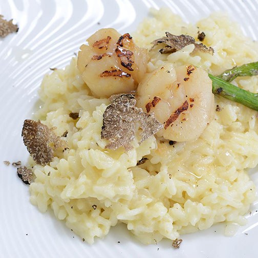 Truffle Risotto With Sauteed Scallops