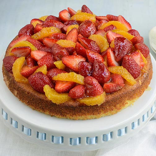 Orange Strawberry Ricotta Cake