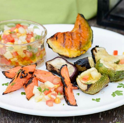 Veggies On The Grill With Pineapple Creole Sauce