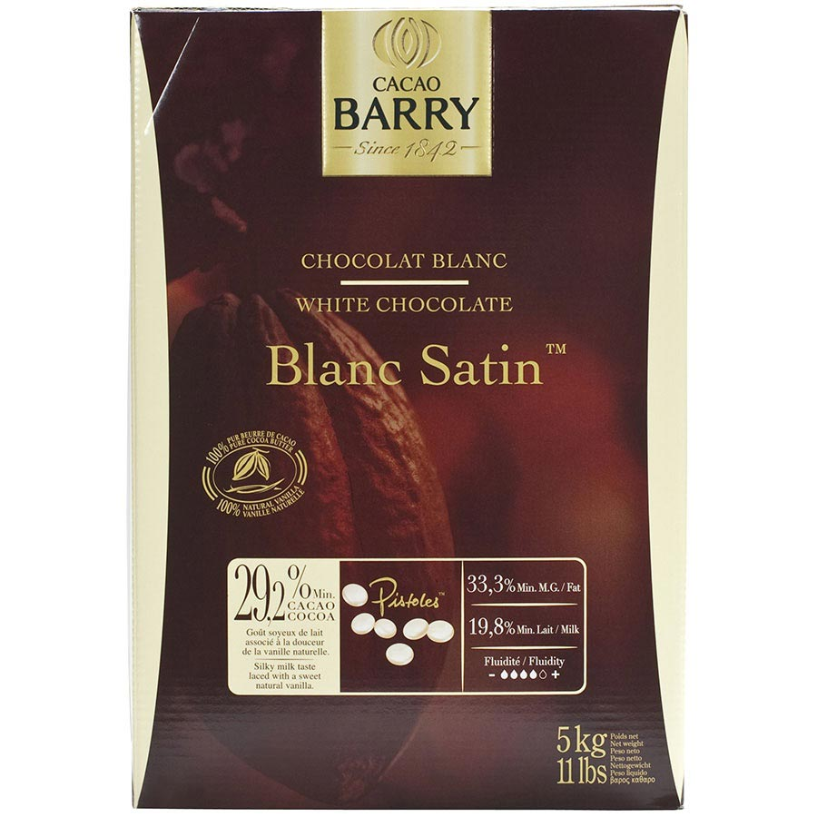 Cacao Barry White Chocolate Pistoles 29.2% Blanc Satin | Buy at ...