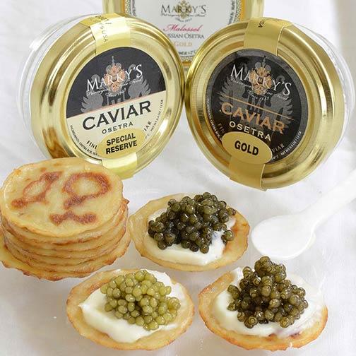 Beginner's caviar sampler gift set bowfin, whitefish, salmon.