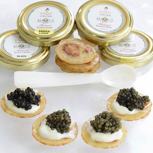 Russian osetra classic and karat caviar sampler gift set | gourmet.