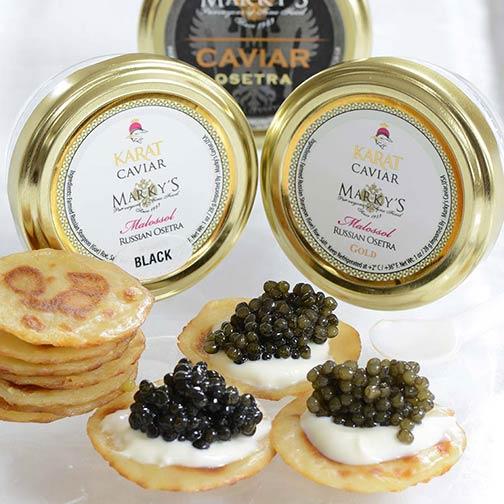 Osetra and sevruga caviar sampler gift set gourmet food store.